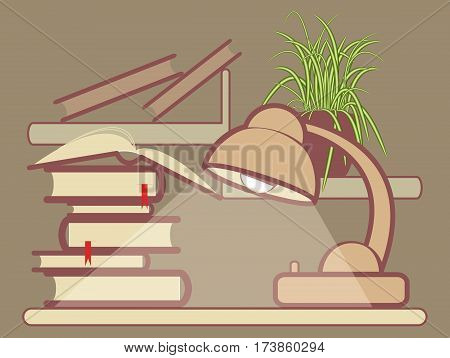 Vector illustration of book pile light on the table and shelf with flower in the pot