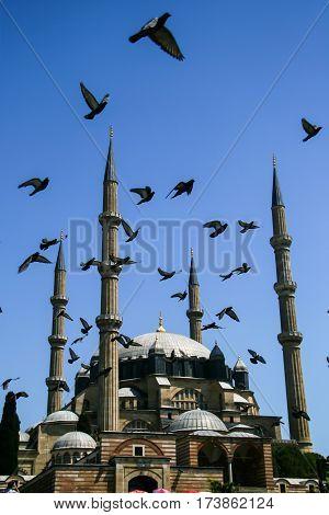 Selimiye Mosque Edirne Turkey ay blue sky