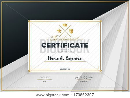 Certificate vector template or diploma design. Graduation, achievement certificate, success layout. Black certificate design. Modern certificate border or diploma with abstract text. Diploma template vector layout.