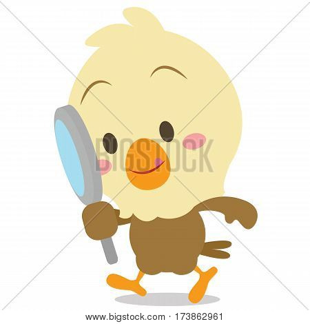 Eagle with magnifying cartoon vector collection stock