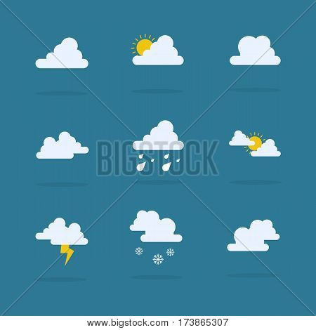 Set of weather vector flat collection stock
