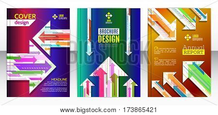 Flyer with abstract set of arrow background. Vertical and horizontal colorful arrows. Modern minimalism business brochure cover template. Flat design geometric elements. Vector illustration eps 10