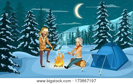 Tourist camp in winter forest at night vector illustration. People sitting near campfire and tourist tent on snowy meadow. Camping and hiking, winter adventure, nature landscape in cartoon style. Tourist couple in winter forest. Winter camp.