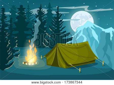 Mountain tourist camp in winter forest at night vector illustration. Campfire and tourist tent on snowy meadow. Camping and hiking concept, winter adventure, natural mountain landscape in cartoon style. Mountain camp. Night campin concept.