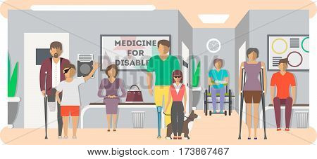 Disabled people in hospital banner in flat style vector illustration. Invalid persons, blind woman, broken arm, people on wheelchair, prosthetic arms and legs. Healthcare assistance and accessibility. Different disabled people. Cartoon disabled people.