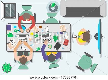 Top view teamwork of business people in office space vector. Business workspace, partnership, creative team, group brainstorming. Cartoon teamwork idea generation concept. Teamwork meeting of business project and teamwork business community concept.