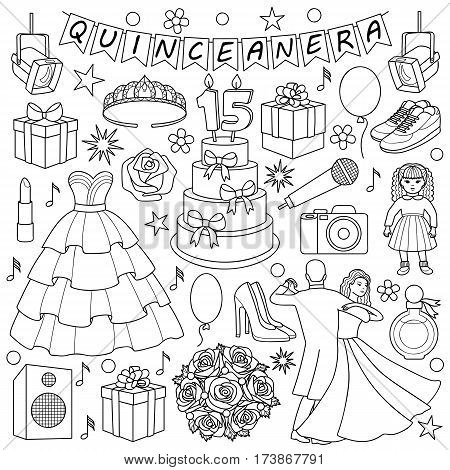 Quinceanera doodle set on white background Girl birthday objects and elements. Coloring page.