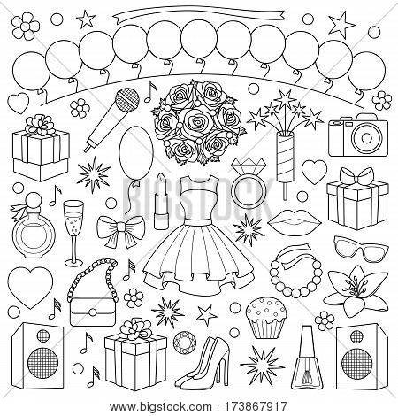 Party doodle set with girl objects and elements on white background. Coloring page.