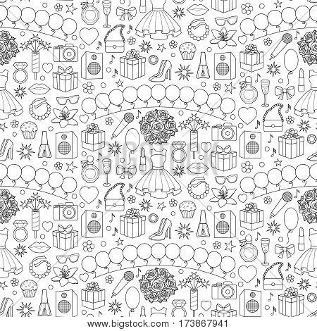 Party doodle seamless pattern with girl objects and elements on white background. Coloring page.