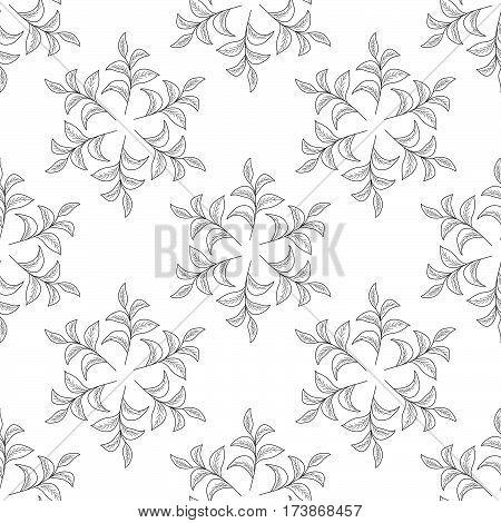 Mandala green tea leaf illustration branch organic hand drawing sketch seamless pattern