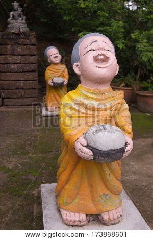 Clay Monk Happy Statues , Thai style