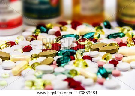 Pills concept. Medical pills on doctors table. Pills in the pharmacy. Medicine pill. Pills prescription for treatment medication.