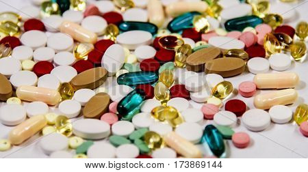 Pharmacy prescription, rx Pharmacy, pill bottle on counter in pharmacy, drug prescription theme, Pharmaceutical medicament on pharmacy table