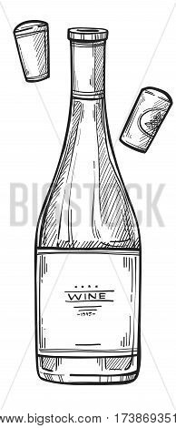 Bottle of wine freehand pencil drawing isolated on white background vector illustration. Wine glass bottle with cork sketch in vintage style. Alcohol icon for bar, pub or restaurant menu.