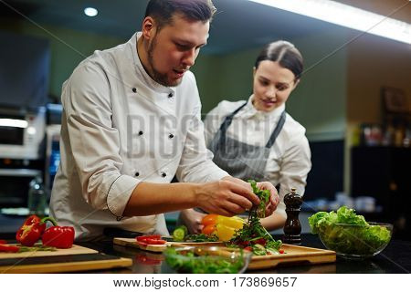 Chef and his trainee cooking vegetable salad