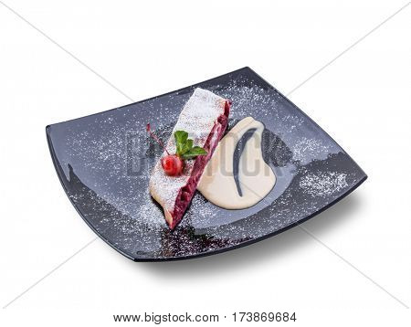 Cherry pie under angle with jam filling. Clipping path