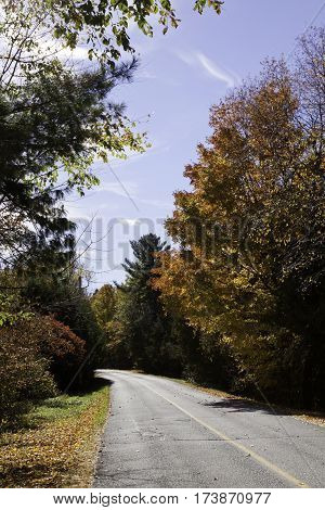 Vertical of paved road running through autumn trees of colorful fall foliage on a beautiful bright sunny day in October near the town of Mystic in the Eastern Townships of Quebec.