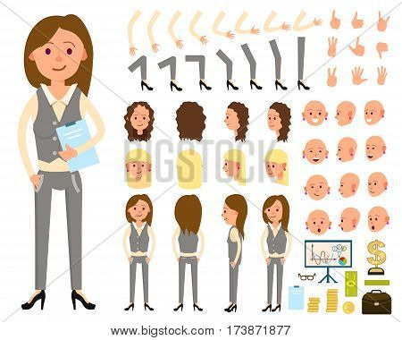 Businesswoman character creation set vector illustration. Female person constructor with various gesture, emotion on face, hand, leg, pose, hairstyle. Front, side, back view animated businesswoman. Businesswoman front view. Flat businesswoman illustration