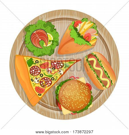 Top view fast food set on wooden board isolated vector illustration. Pizza, burrito, taco, hamburger, hot dog, salmon fish on salad leaf. Cafe or restaurant fast food menu cartoon symbol collection. Fast food meal. Concept of cartoon fast food