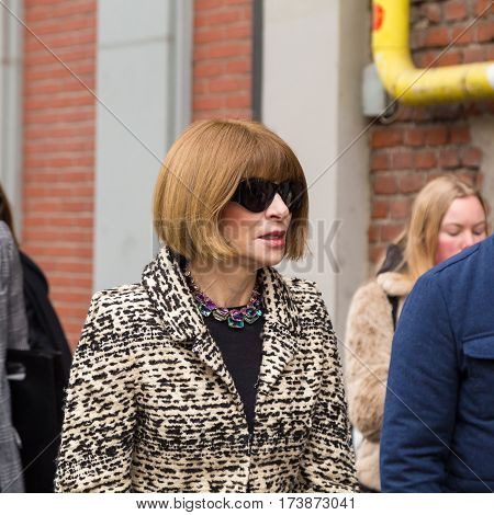 MILAN ITALY - FEBRUARY 23: Anna Wintour arrives at Fendi fashion show during Milan Women's Fashion Week on FEBRUARY 23 2017 in Milan.