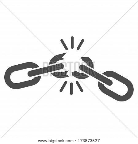 Chain Damage vector icon. Flat gray symbol. Pictogram is isolated on a white background. Designed for web and software interfaces.