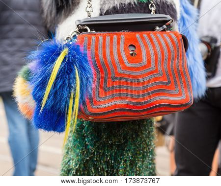 MILAN ITALY - FEBRUARY 23: Detail of bag outside Fendi fashion show during Milan Women's Fashion Week on FEBRUARY 23 2017 in Milan.