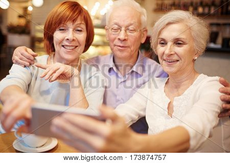 Row of smiling pensioners making their selfie in cafe during hangout