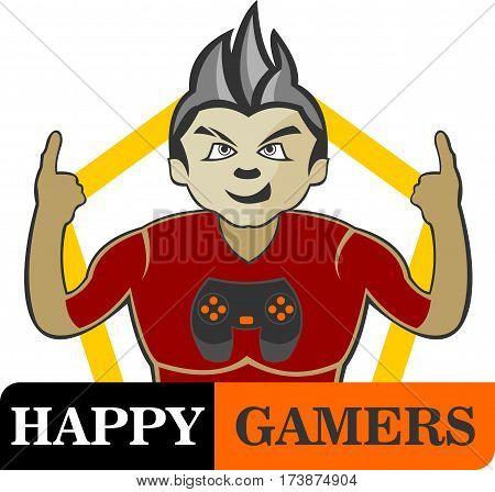 logo illustration spirit boy happy gamer fighter
