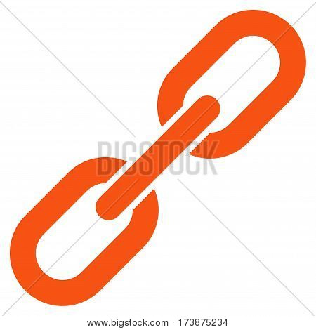 Chain Link vector icon. Flat orange symbol. Pictogram is isolated on a white background. Designed for web and software interfaces.
