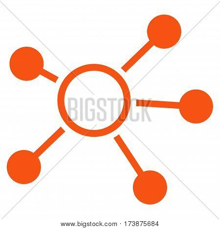 Connections vector icon. Flat orange symbol. Pictogram is isolated on a white background. Designed for web and software interfaces.