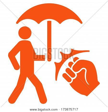 Crime Coverage vector icon. Flat orange symbol. Pictogram is isolated on a white background. Designed for web and software interfaces.