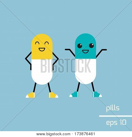 Cute characters - funny pills with smiling faces.