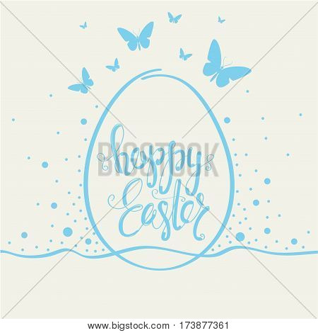 Cover design greeting cards for happy Easter. Shows one  big egg with phrase Happy Easter on them. Used blue and beige colors. Around the egg of a butterfly blue and confetti blue.