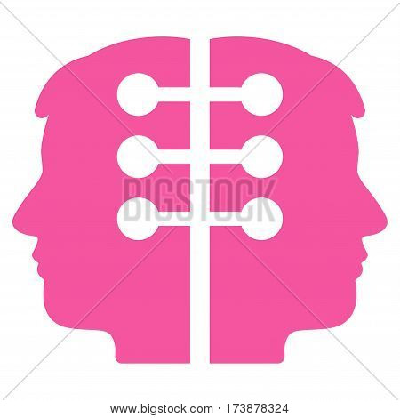 Dual Head Interface vector icon. Flat pink symbol. Pictogram is isolated on a white background. Designed for web and software interfaces.