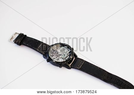 Stop The Time Concept. Crashed Watches Isolated On White.