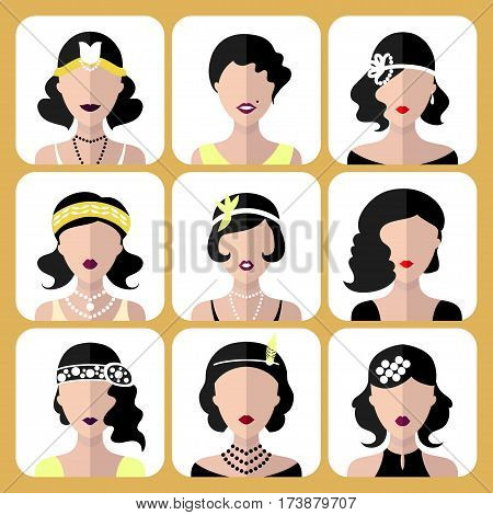 Vector set of different flapper girls icons in modern flat style isolated on white background
