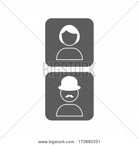 Vector icon male and female profile picture in trendy flat style. Unknown user avatars