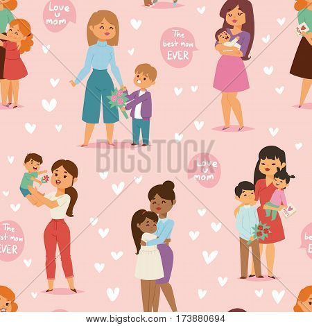 Mother and children with flower bouquet mothers and womans day vector seamless pattern illustration