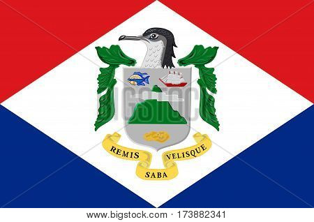 Flag of Saba is a Caribbean island and the smallest special municipality of the Netherlands. Vector illustration poster