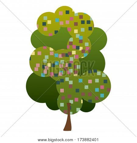 colorful silhouette leafy tree with pixels square vector illustration