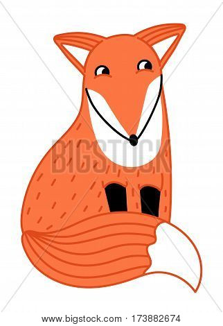 Cute little fox hand drawn isolated on white background vector illustration. Funny comic animal mascot, happy and smiling red fox, wildlife and zoo animal. Friendly fox sitting. Cartoon fox character. Funny and smiling fox. Vector fox.