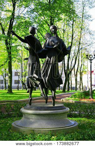 Minsk Belarus - 1 October 2012: sculptures of ballerinas opera and ballet the Grand National Theatre sculpture architecture