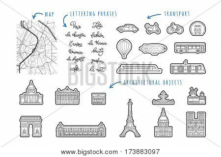 Set icon of Paris in a linear style buildings, architectural attractions, transport, phrases, lettering on the theme of Paris. This set can be used to create maps, design printing, printing on fabric.