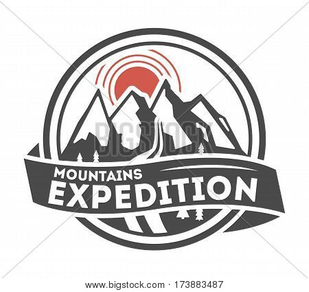Mountain explorer vintage isolated label vector illustration. Mountain expeditions icon. Wild life concept. Adventure outdoor resort and hiking logo. Mountain logo vector. Template of mountain logo. Extreme adventure logo. Outdoor logo.