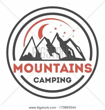 Adventure outdoor vintage isolated label vector illustration. Summer camping symbols. Mountain explorer icon. Wild life concept. Hiking logo. Mountains camping logo on white background