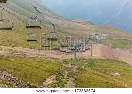 The cableway to Medeu. The cableway among mountains to the Medeu in Kazakhstan Shymbulak.