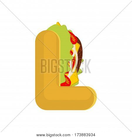 Letter L Tacos. Mexican Fast Food Font. Taco Alphabet Symbol. Mexico Meal Abc