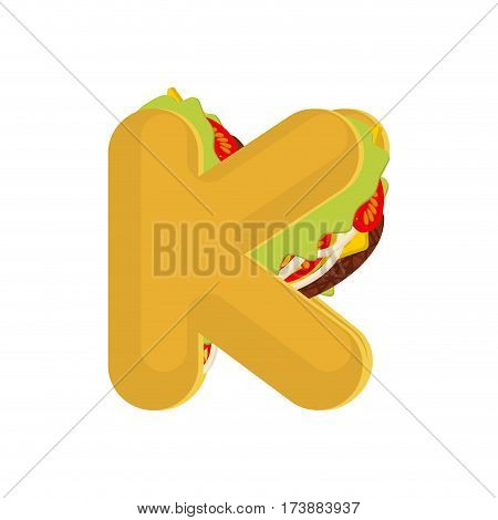 Letter K Tacos. Mexican Fast Food Font. Taco Alphabet Symbol. Mexico Meal Abc