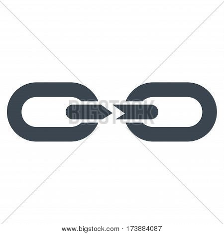 Chain Break vector icon. Flat smooth blue symbol. Pictogram is isolated on a white background. Designed for web and software interfaces.