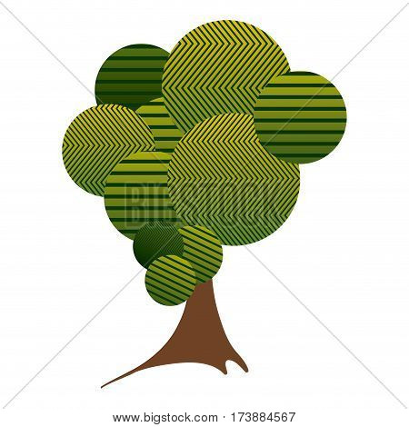 colorful high leafy tree plant with striped lines and trunk vector illustration